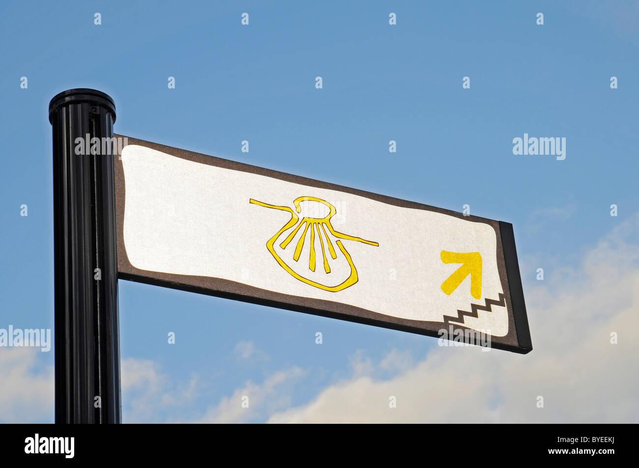 Pilgrim sign, scallop, sign on the Way of St. James, Logrono, La Rioja, Spain, Europe - Stock Image