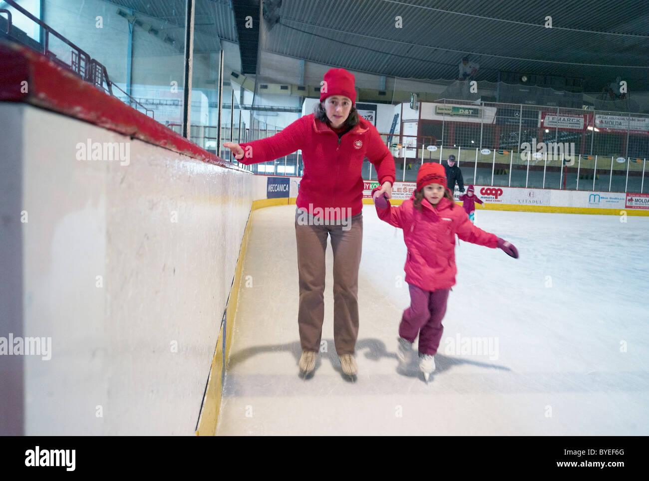 Skaters on an ice rink in Novey Zamky Slovakia - Stock Image