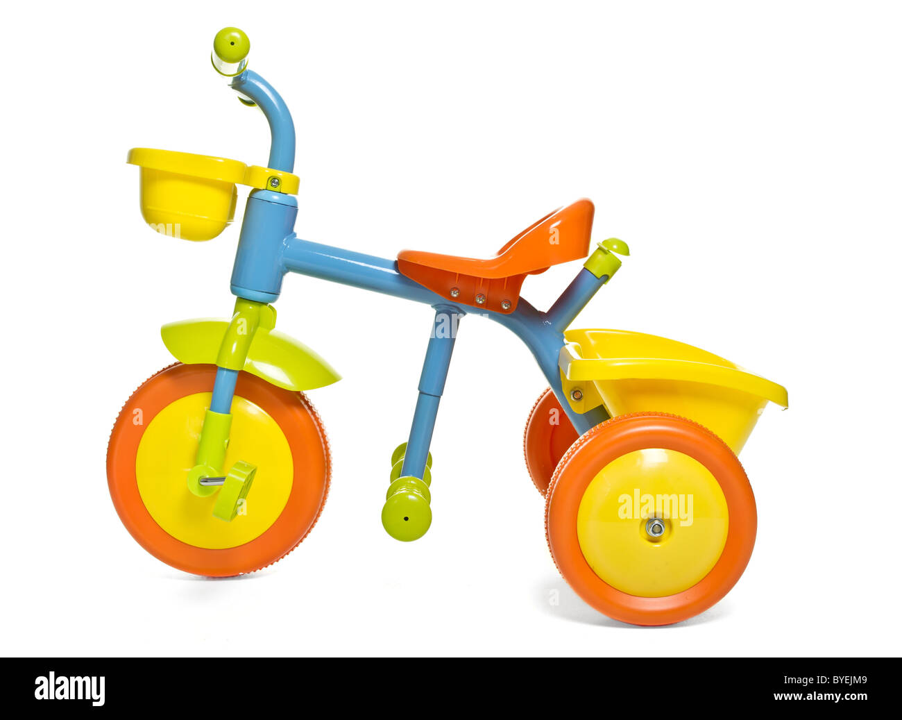 Vibrant child's 1st bike / trike isolated on white. Stock Photo