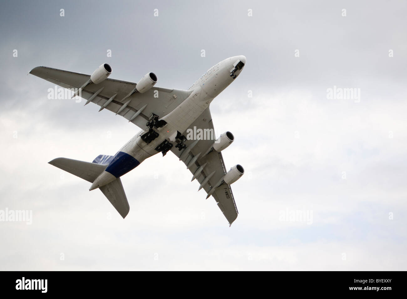 Airbus A380 world's largest commercial double two deck aircraft Farnborough Airshow England - Stock Image