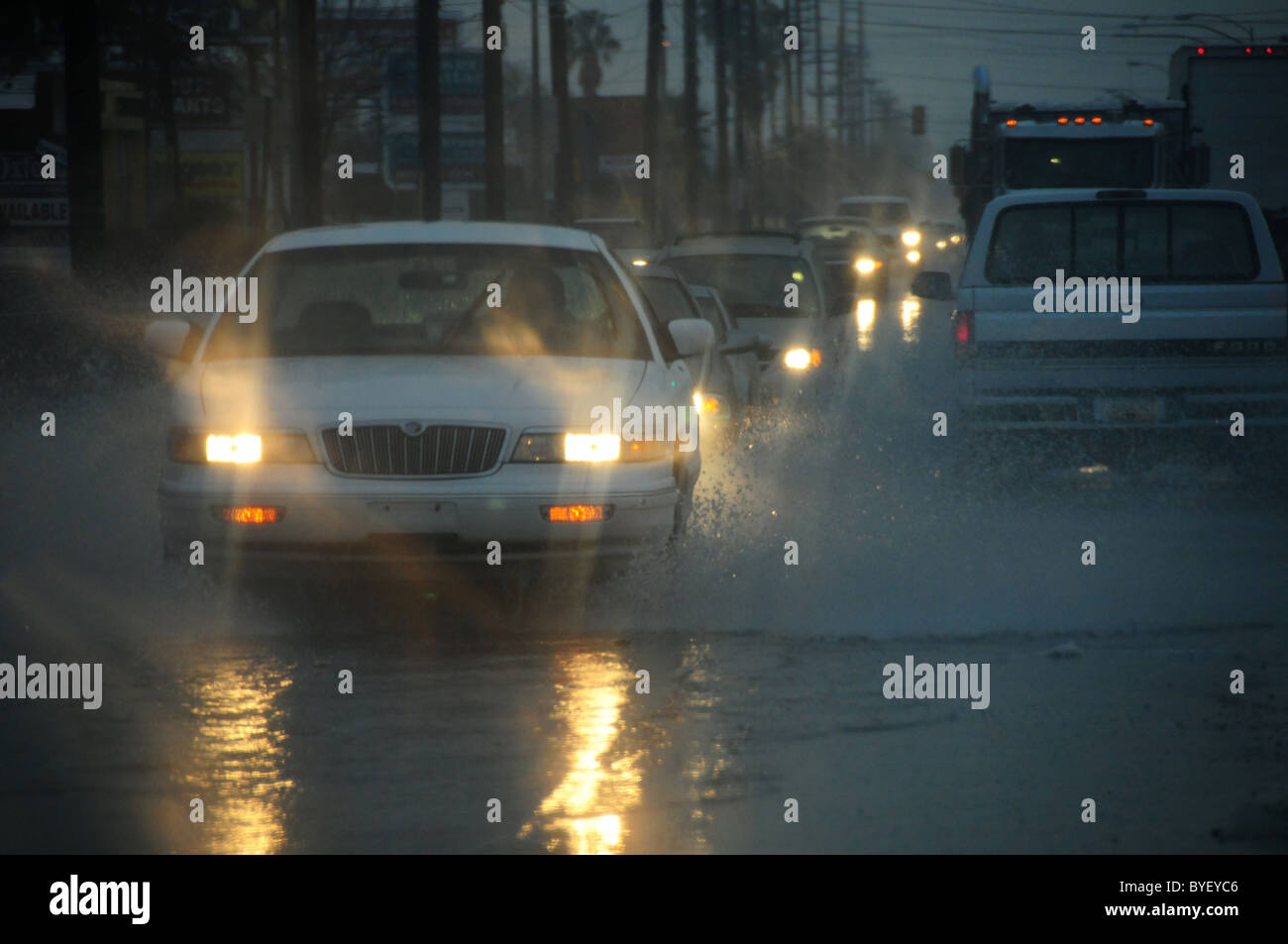 A rain storm that brought snow to the higher elevations floods streets and snarls traffic in Tucson, Arizona, USA. - Stock Image