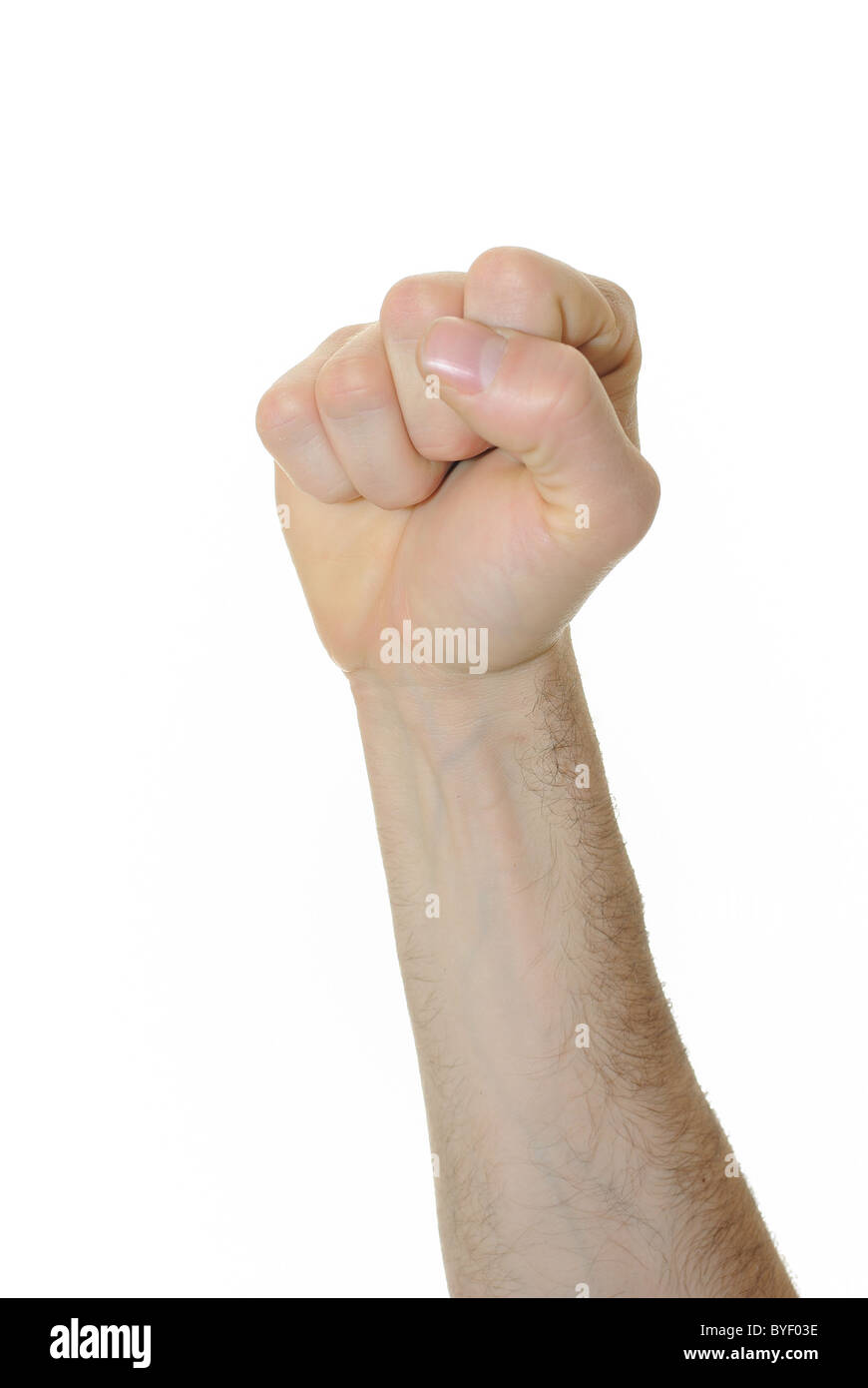 Powerful fist pump against a white background - Stock Image