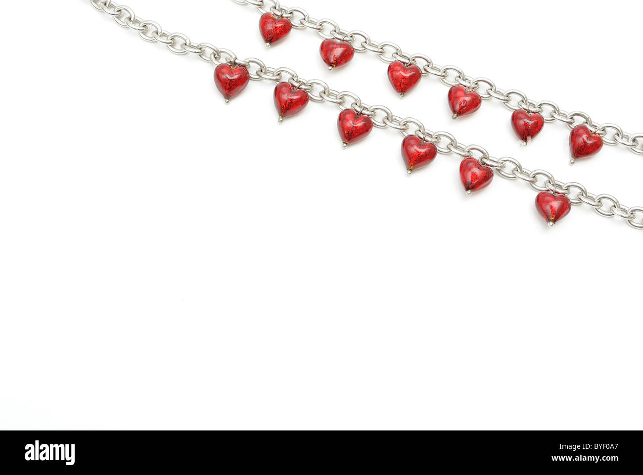 Heart Jewelry isolated on white with copy space - Stock Image