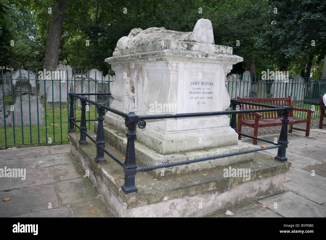 Tomb of John Bunyan Bunhill Fields Cemetery London E1 - Stock Image