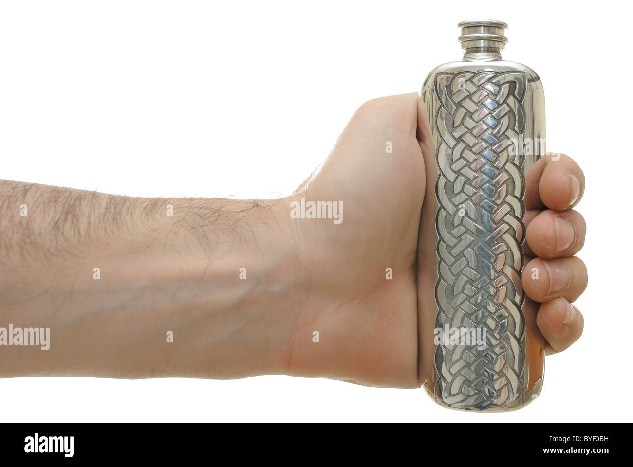Hand holding a flask isolated on white. - Stock Image