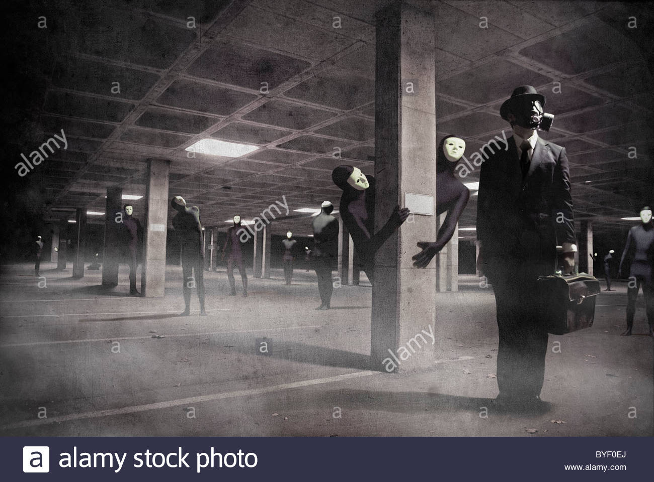 Conceptual image of business man wearing gas mask holding briefcase in underground car park with masked figures - Stock Image