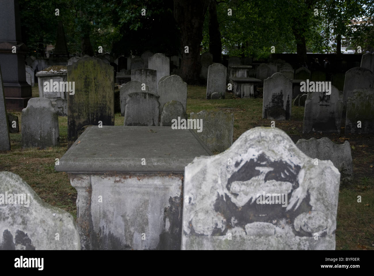 Graves in Bunhill Fields Cemetery London E1 - Stock Image