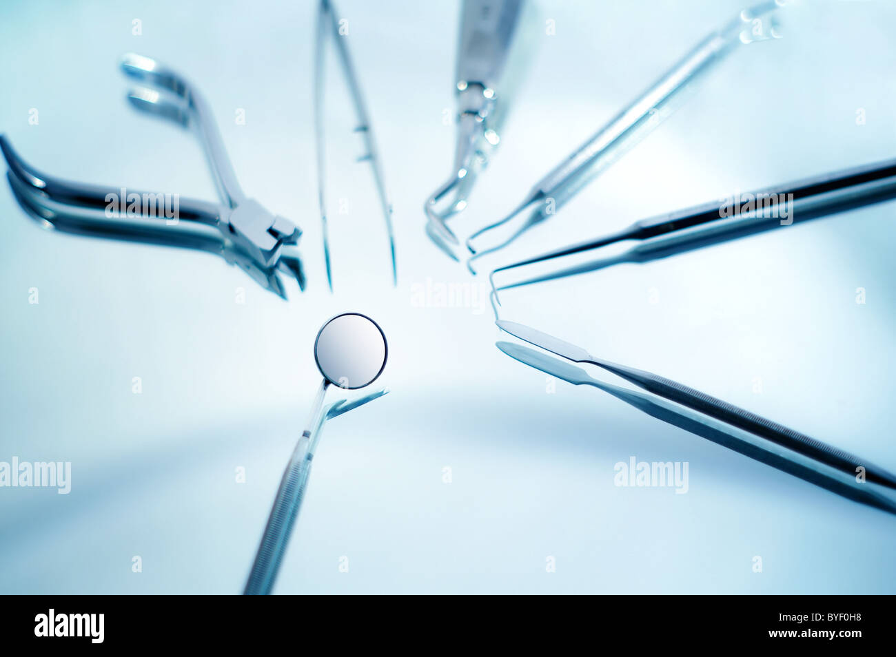 Dental instruments with shallow depth of field - Stock Image