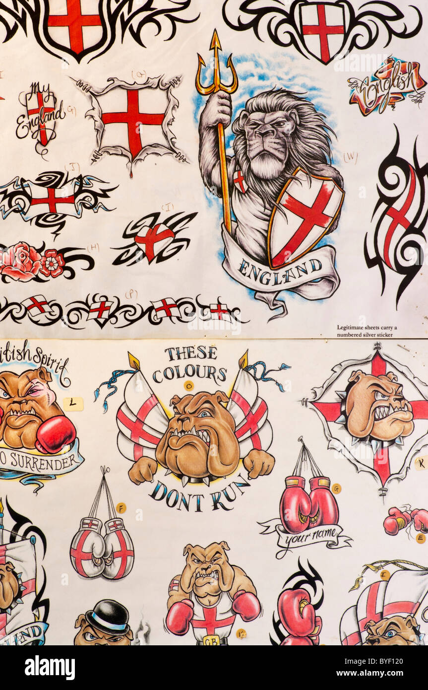England Patriotic Tattoo Designs Display - Stock Image