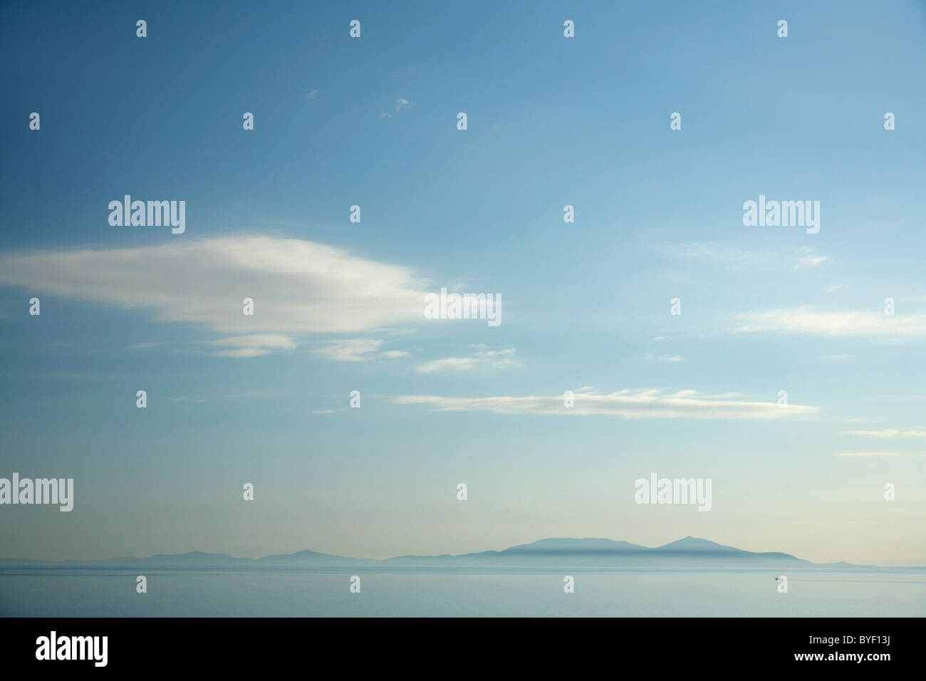 View across The Little Minch to the distant Western Isles, Scotland. Stock Photo