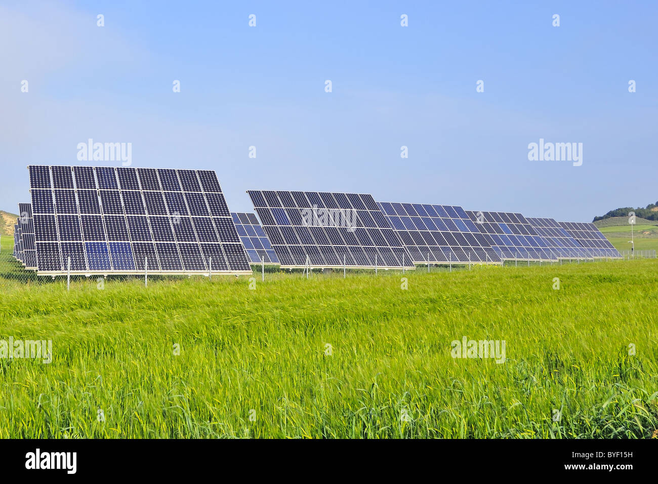 silicon solar energy batteries on green meadow - Stock Image