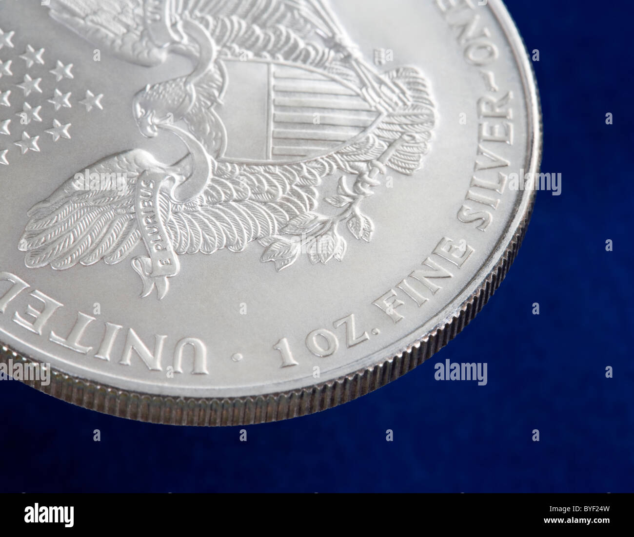 The obverse or back of a one ounce US silver Eagle coin - Stock Image