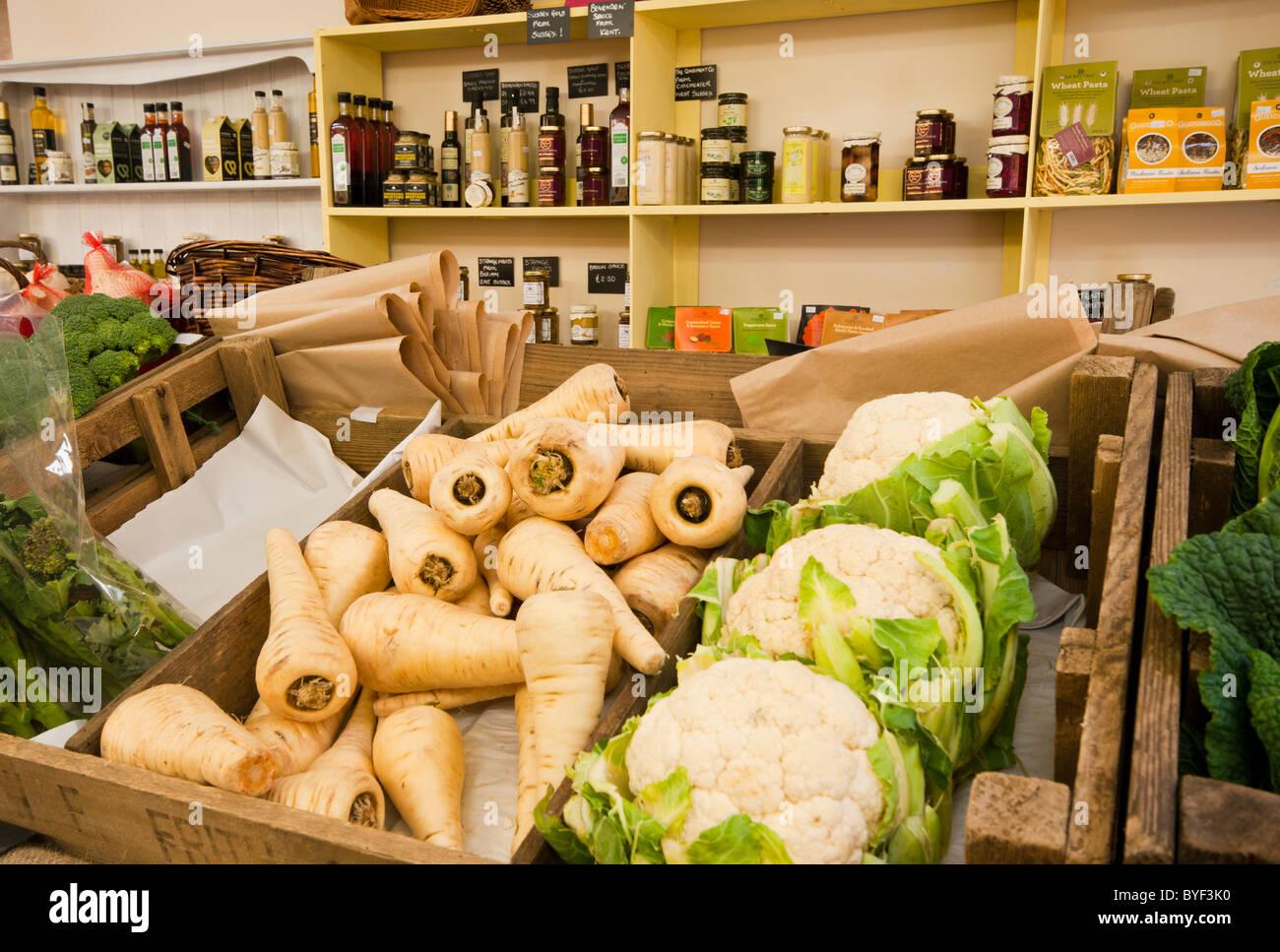 Fresh Farm Produce On Display In A Farm Shop - Stock Image