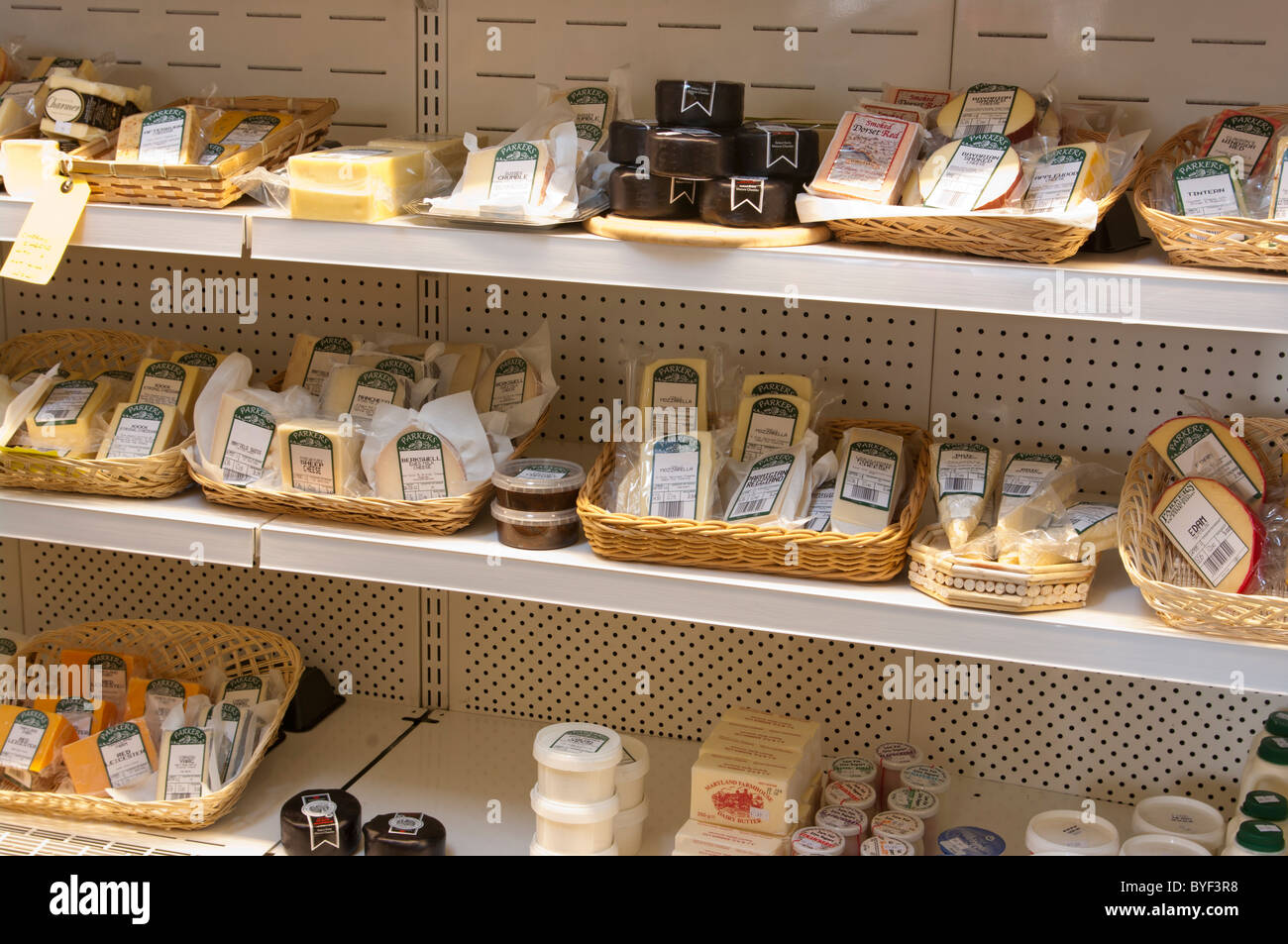 Cheese Cold Cabinet in A Farm Shop - Stock Image