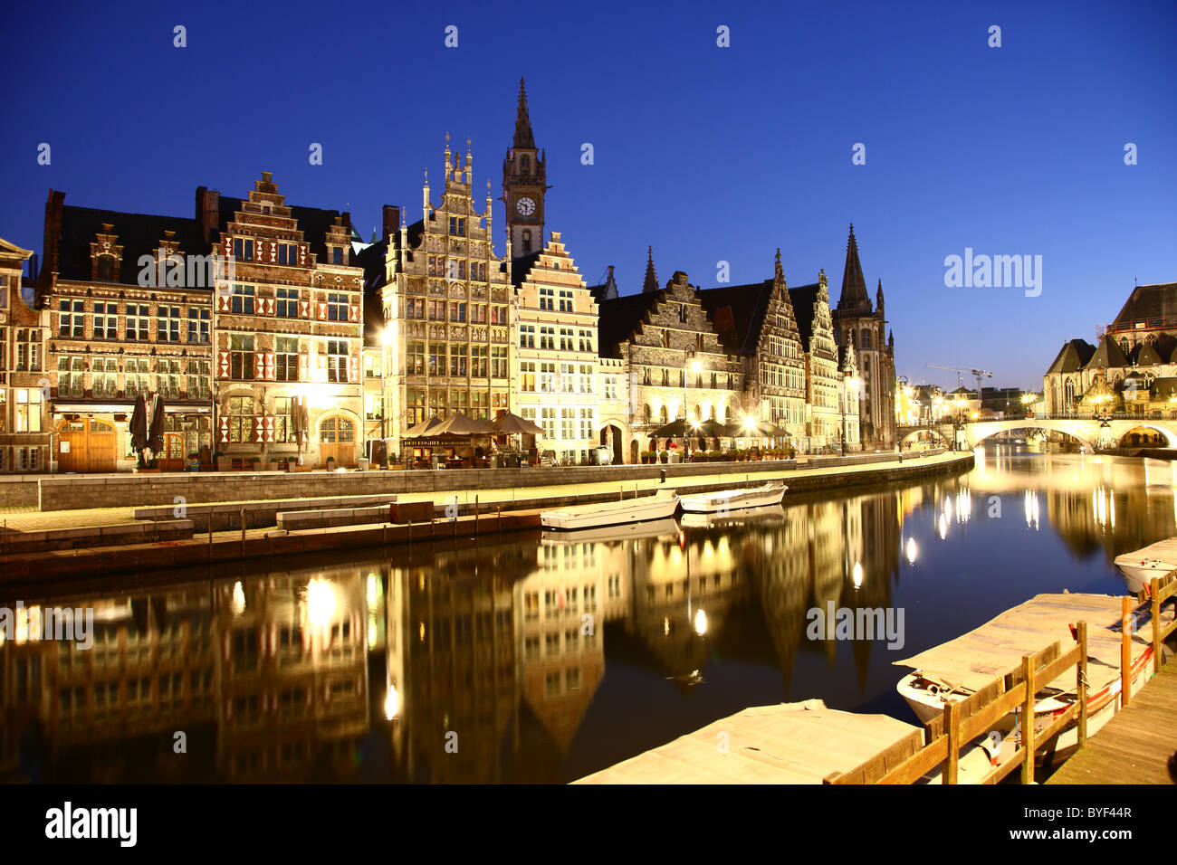 Old town, historic houses in the old town, river Leie, Ghent, East-Flanders, Belgium, Europe - Stock Image