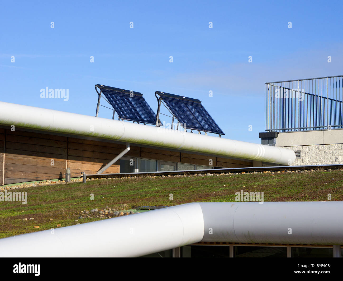 Solar panels fitted on a ' green growing roof ' at a school in Penryn, Cornwall, UK - Stock Image