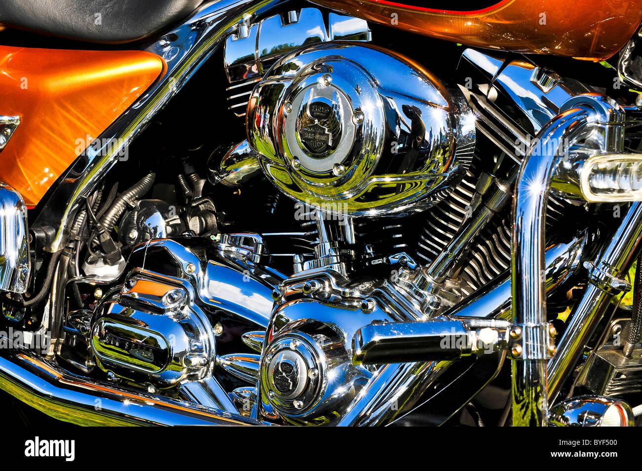 harley davidson,motorbike,detail,shiny,silver,clean,gleaming,new,polish,bike Stock Photo
