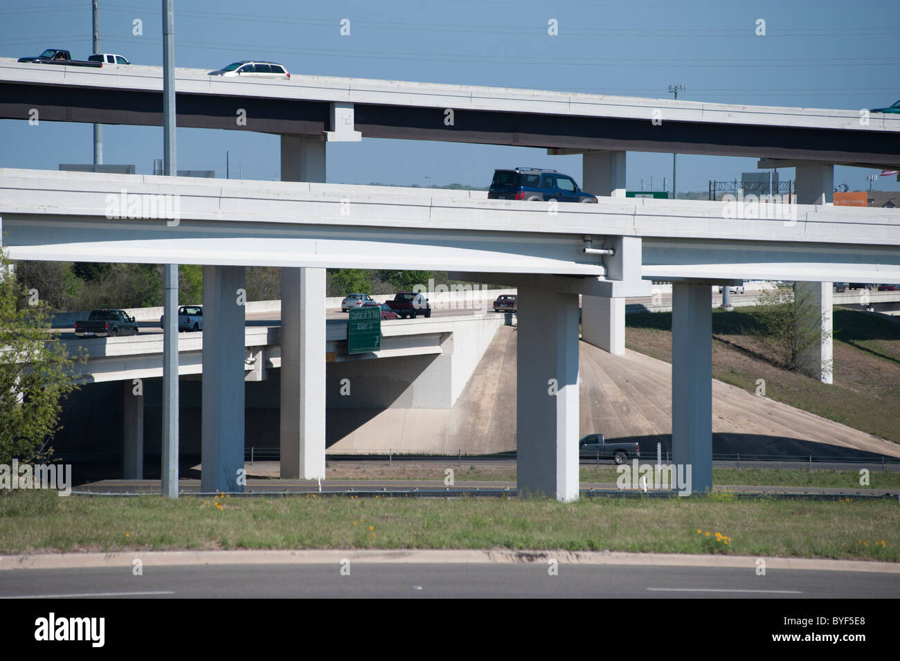 Complicated road system and flyovers in north Austin, Texas, USA - Stock Image
