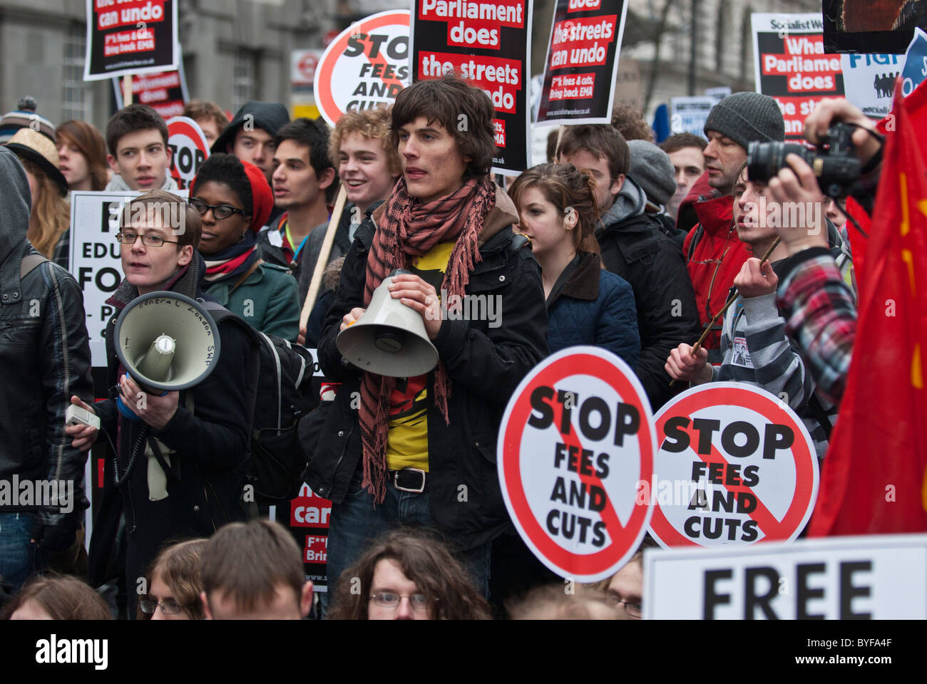 Student Protesters University fees scrapping educational maintenance allowance EMA Millbank Westminster London UK - Stock Image