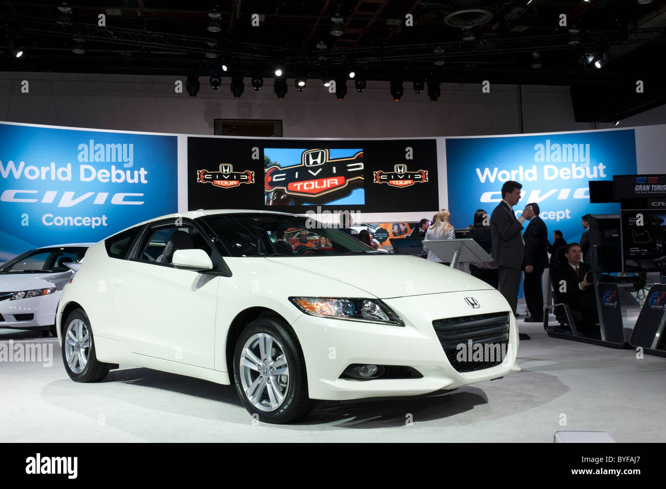Honda CR-Z hybrid car at the 2011 North American Auto Show in Detroit - Stock Image