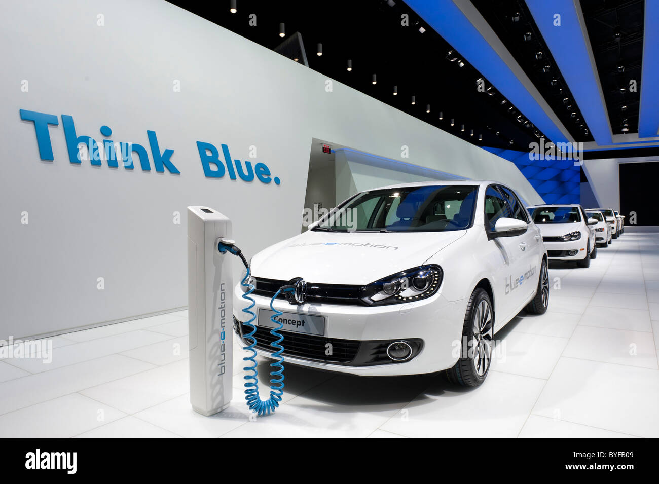 Volkswagen display with the VW Golf Blue E-Motion electric car at the 2011 North American International Auto Show - Stock Image