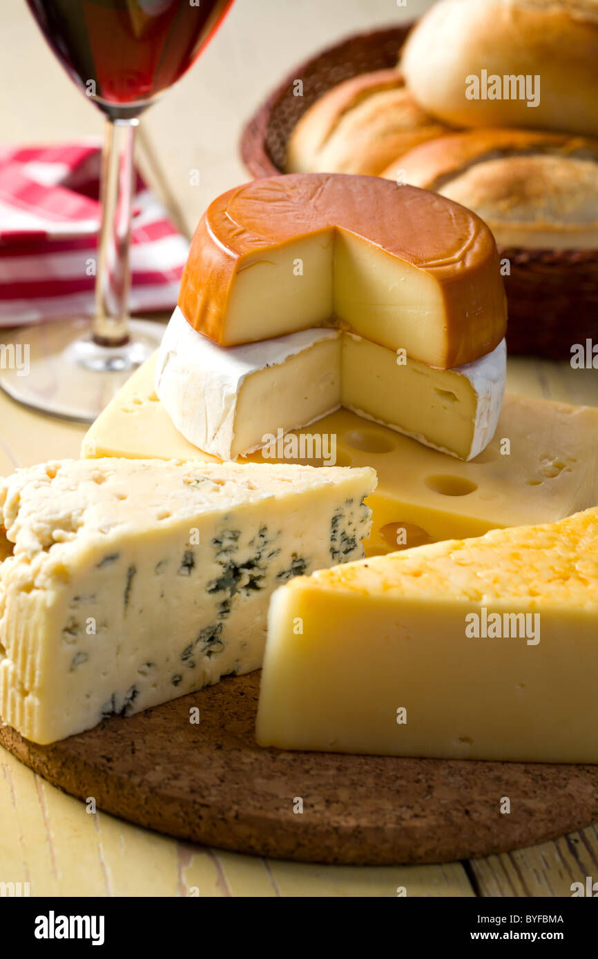 the still life with cheeses - Stock Image
