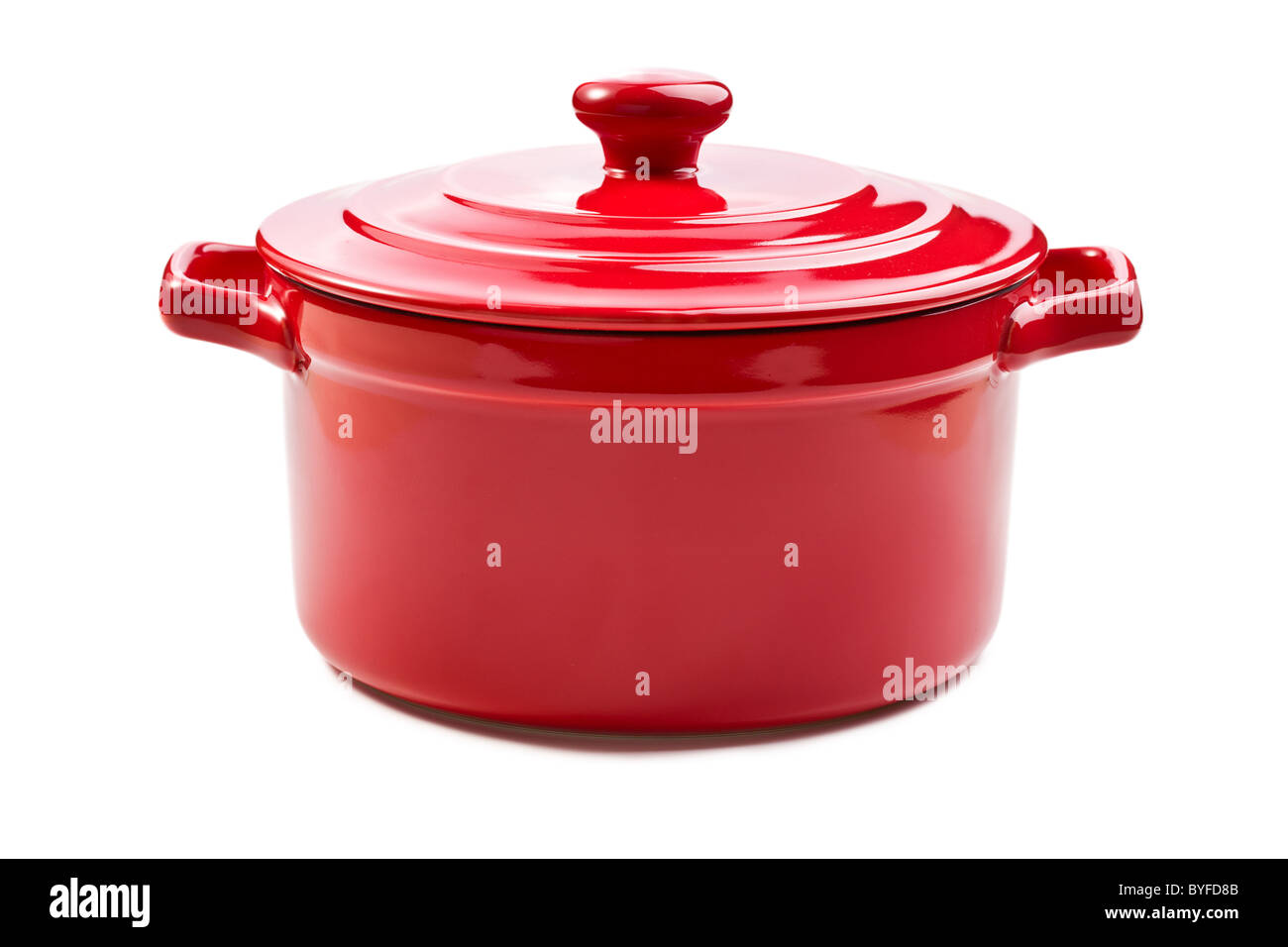 the red pot with cover - Stock Image