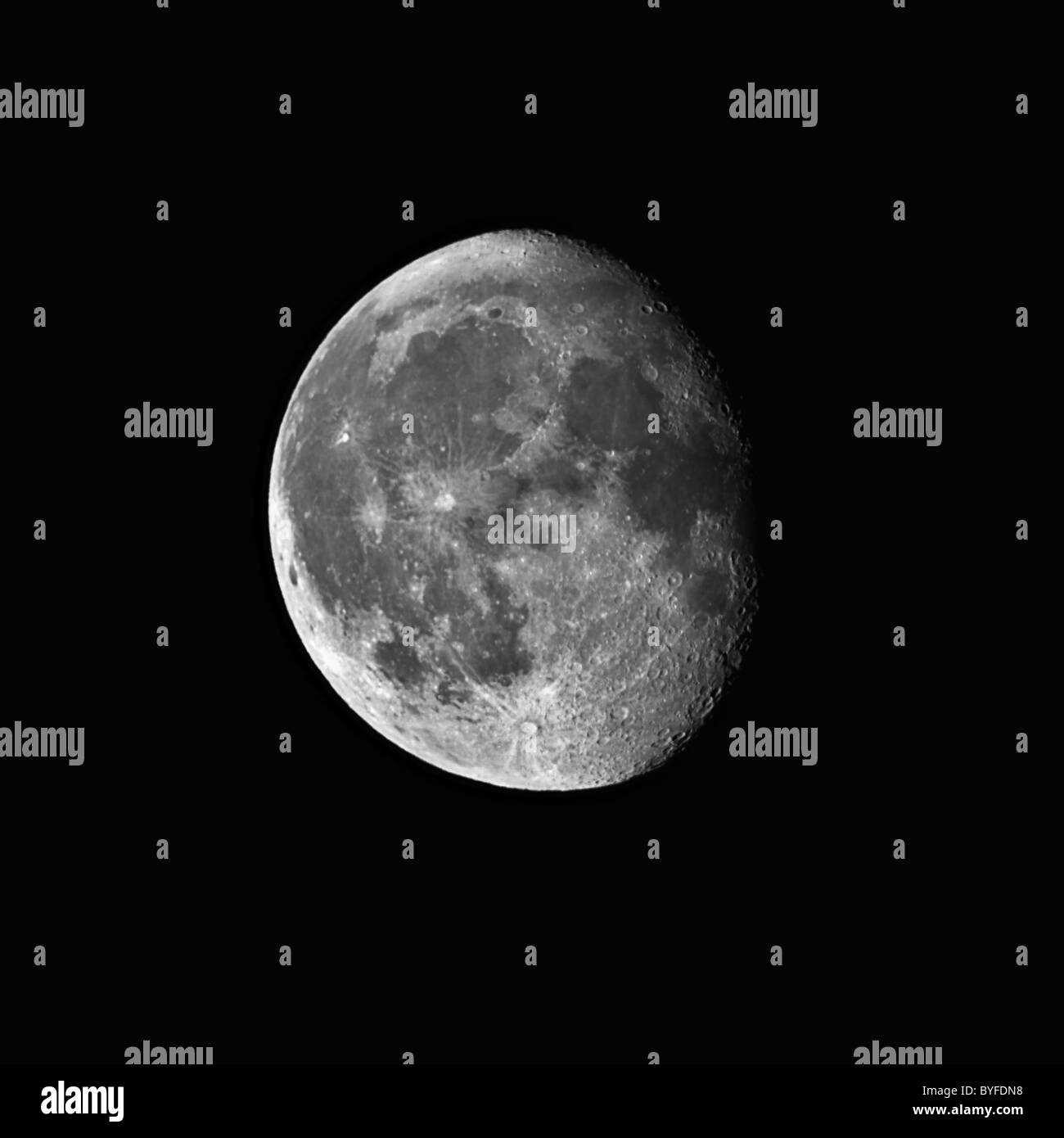 Waning gibbous moon captured with a 0.2 meters telescope - Stock Image