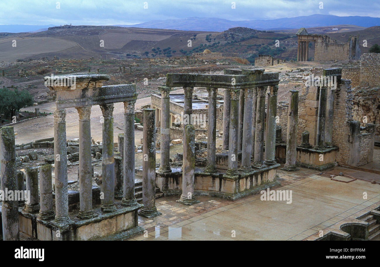 The ancient Roman town of Dougga in Tunisia, one of the best preserved sites from the Roman era Stock Photo