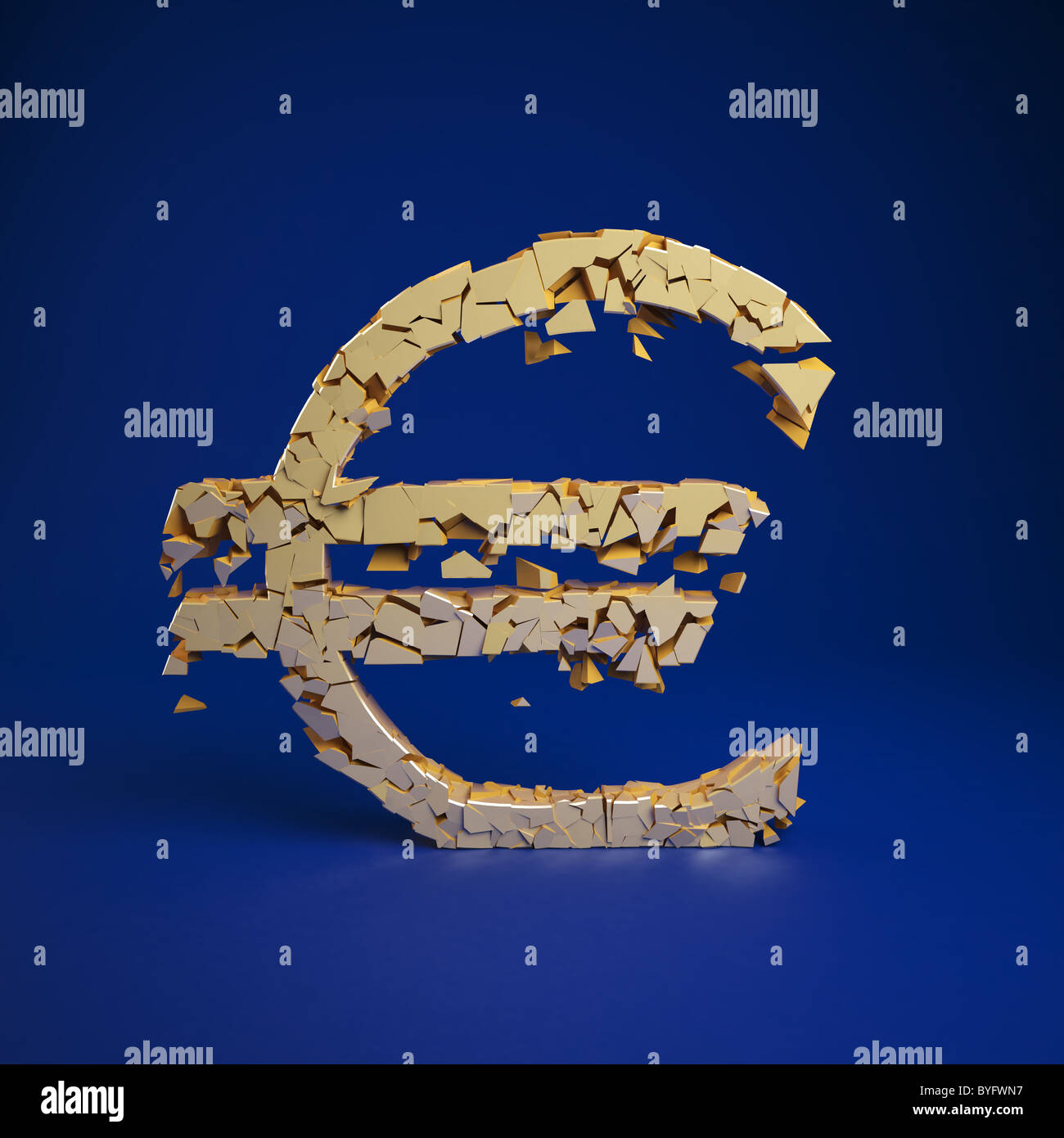 Euro Currency Symbol Crumbles Into A Pile Of Ruble Stock Photo