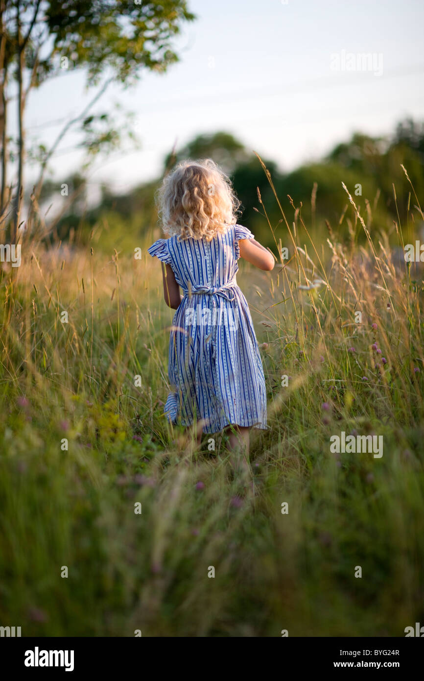 Girl standing on meadow, rear view - Stock Image