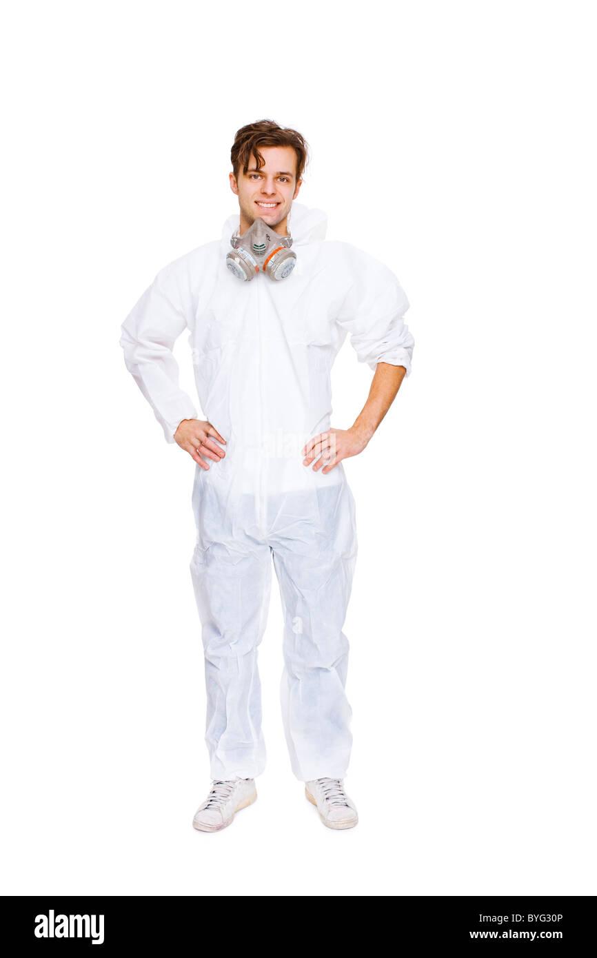 Studio shot of man wearing coveralls - Stock Image