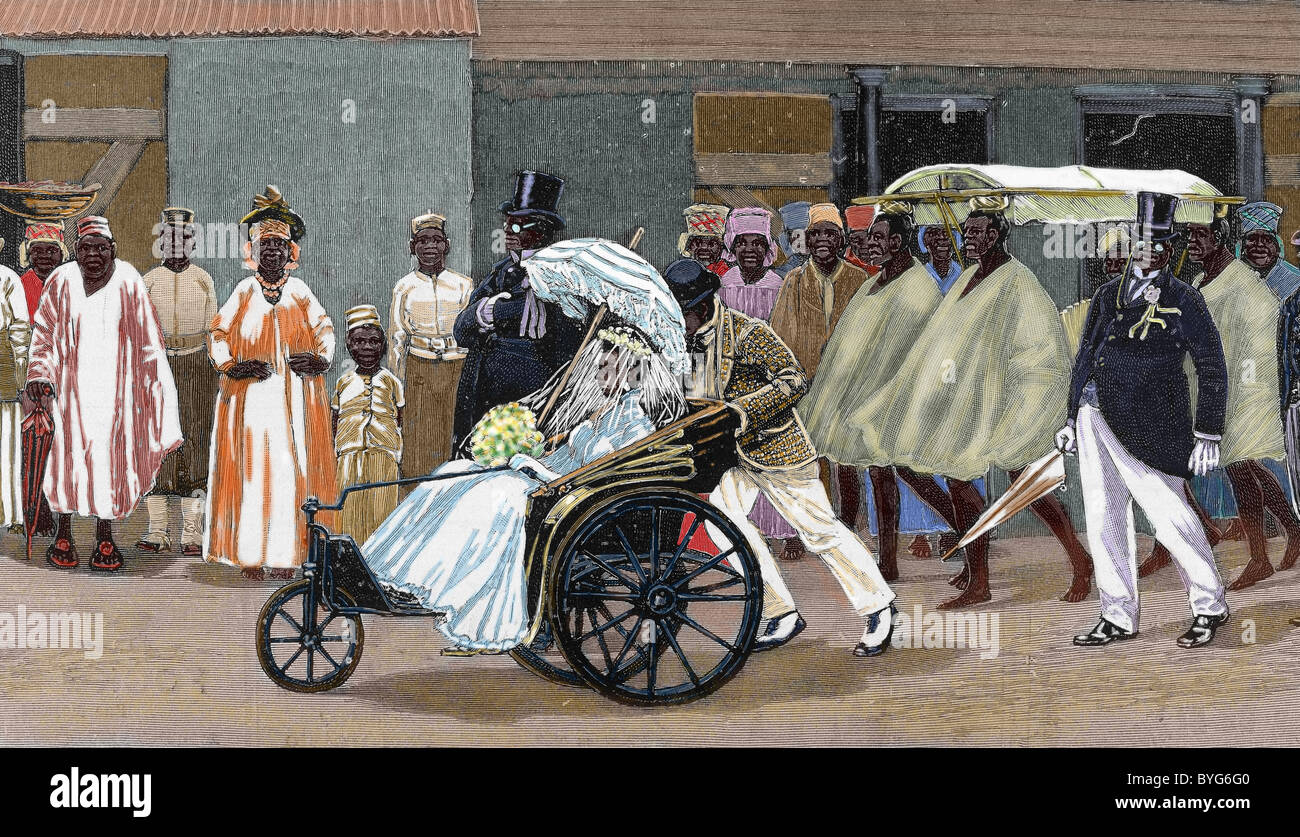 Africa. Sierra Leone. Bride of the High Society. Colored engraving 1880. - Stock Image
