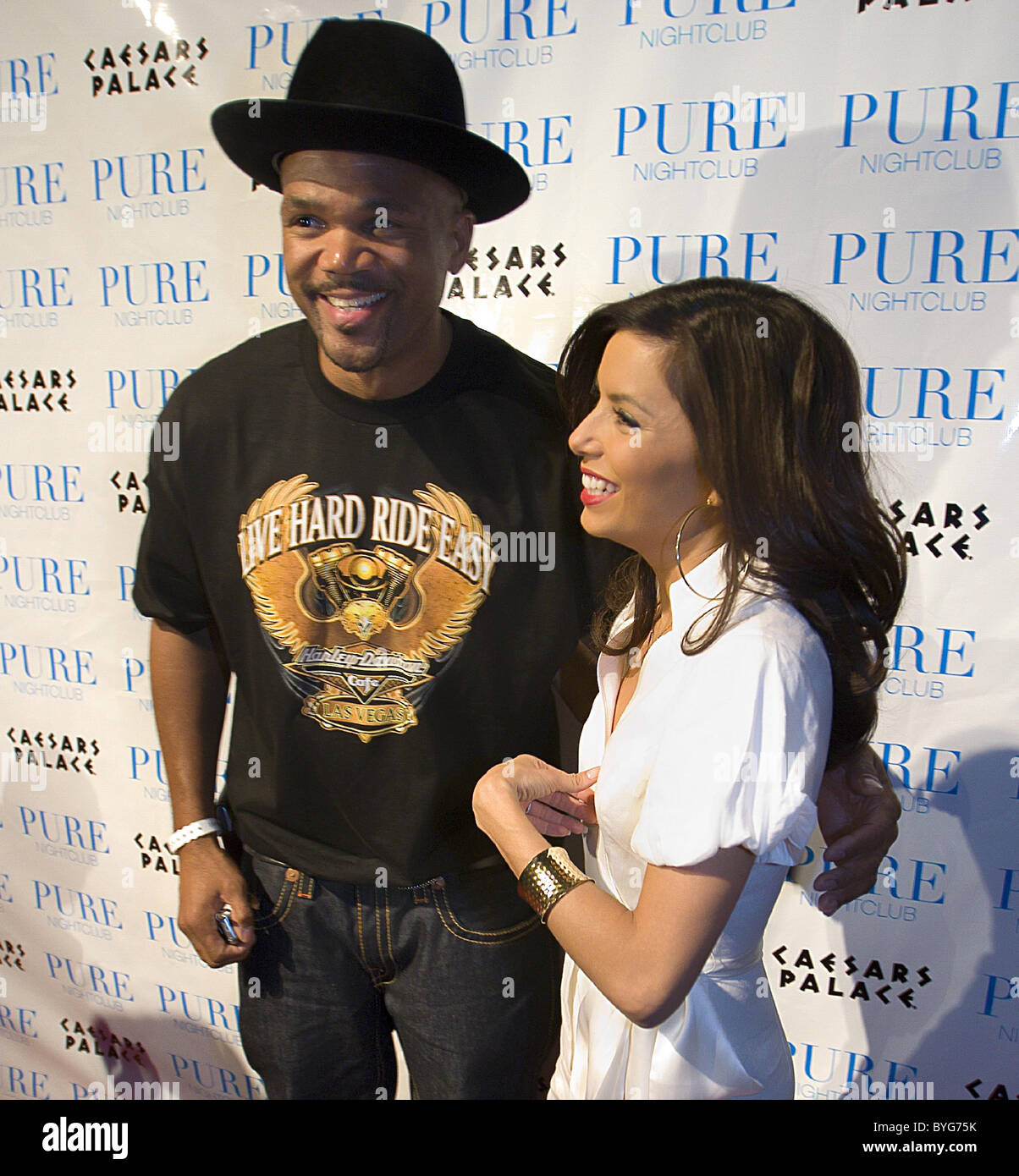 Eva Longoria and Darryl McDaniels AKA DMC of Run DMC celebrate the NBA All-Star Weekend at Pure nightclub in Caesars - Stock Image