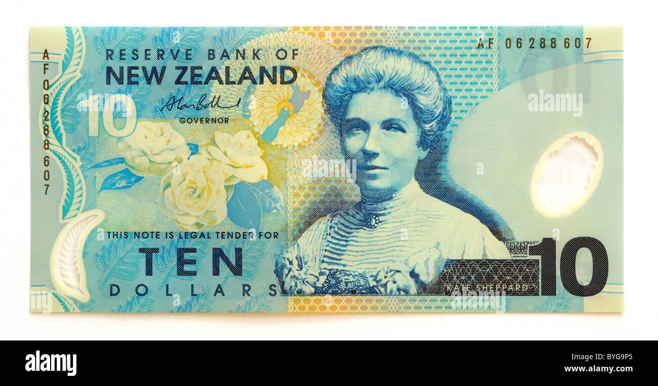 New Zealand 10 Ten Dollar Bank Note. - Stock Image