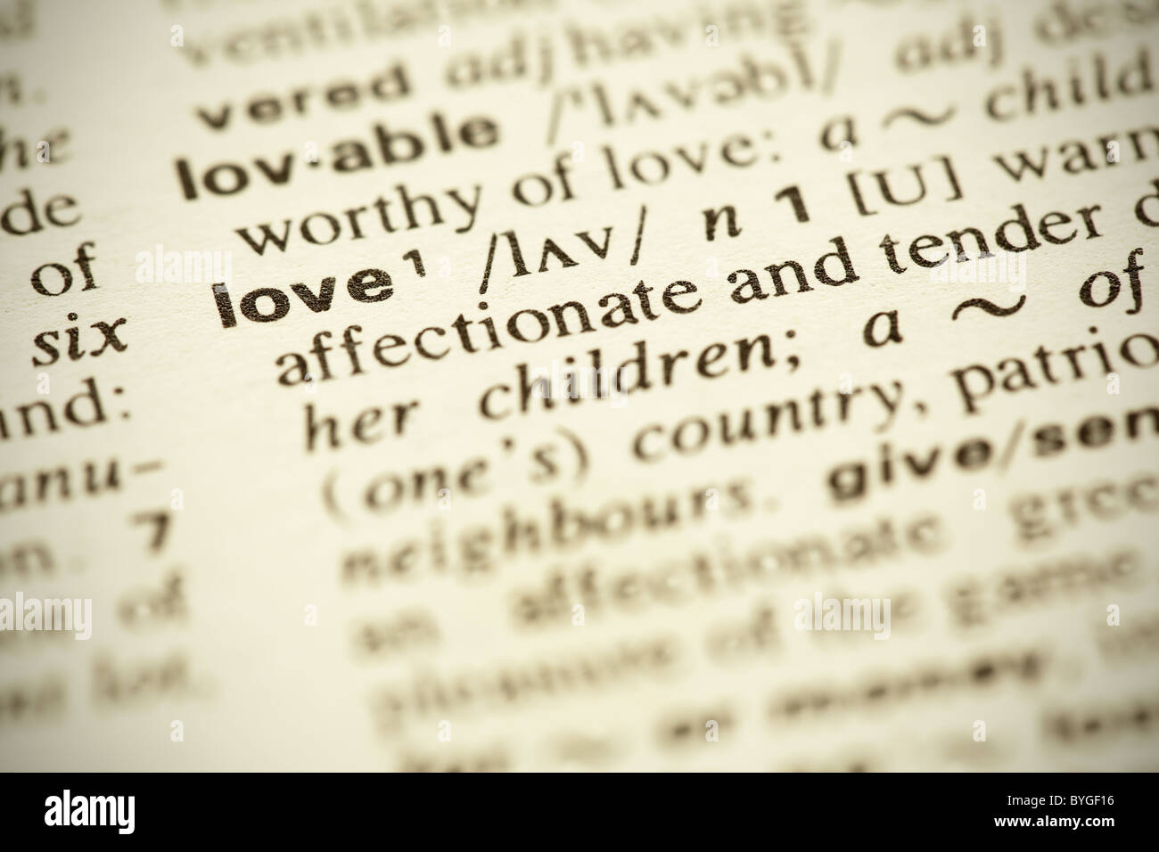 Dictionary Definition Of The Word Love In English Shallow Dof