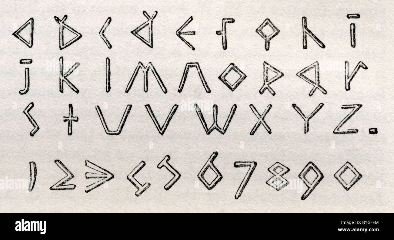 James Gall's triangular tactile alphabet and numerals for the blind. - Stock Image
