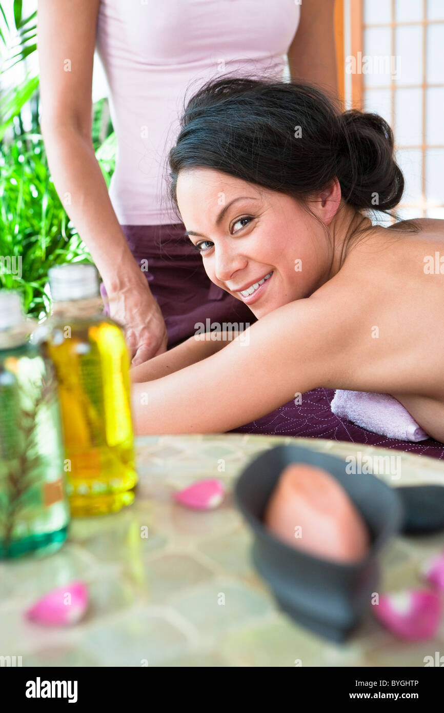 Portrait of woman at health spa Stock Photo