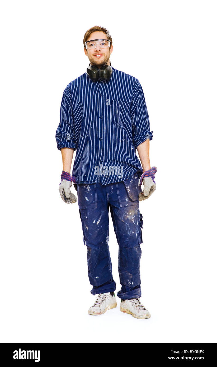 Studio shot of construction worker - Stock Image