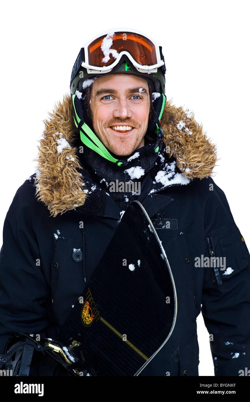 Studio shot of man in ski-wear - Stock Image