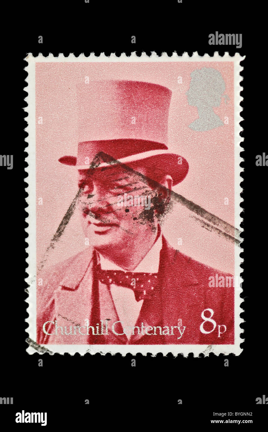 Winston Churchill vintage canceled postage stamp commemorating the centenary of his birth. United Kingdom, 1974. - Stock Image