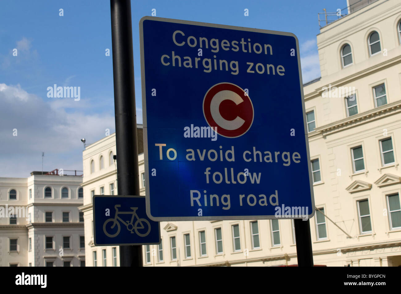 London Congestion Zone Sign - Stock Image