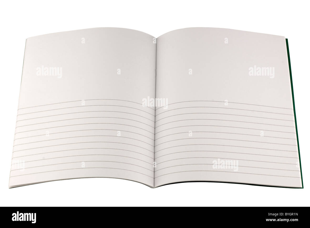 Half lined and half plain writing book - Stock Image