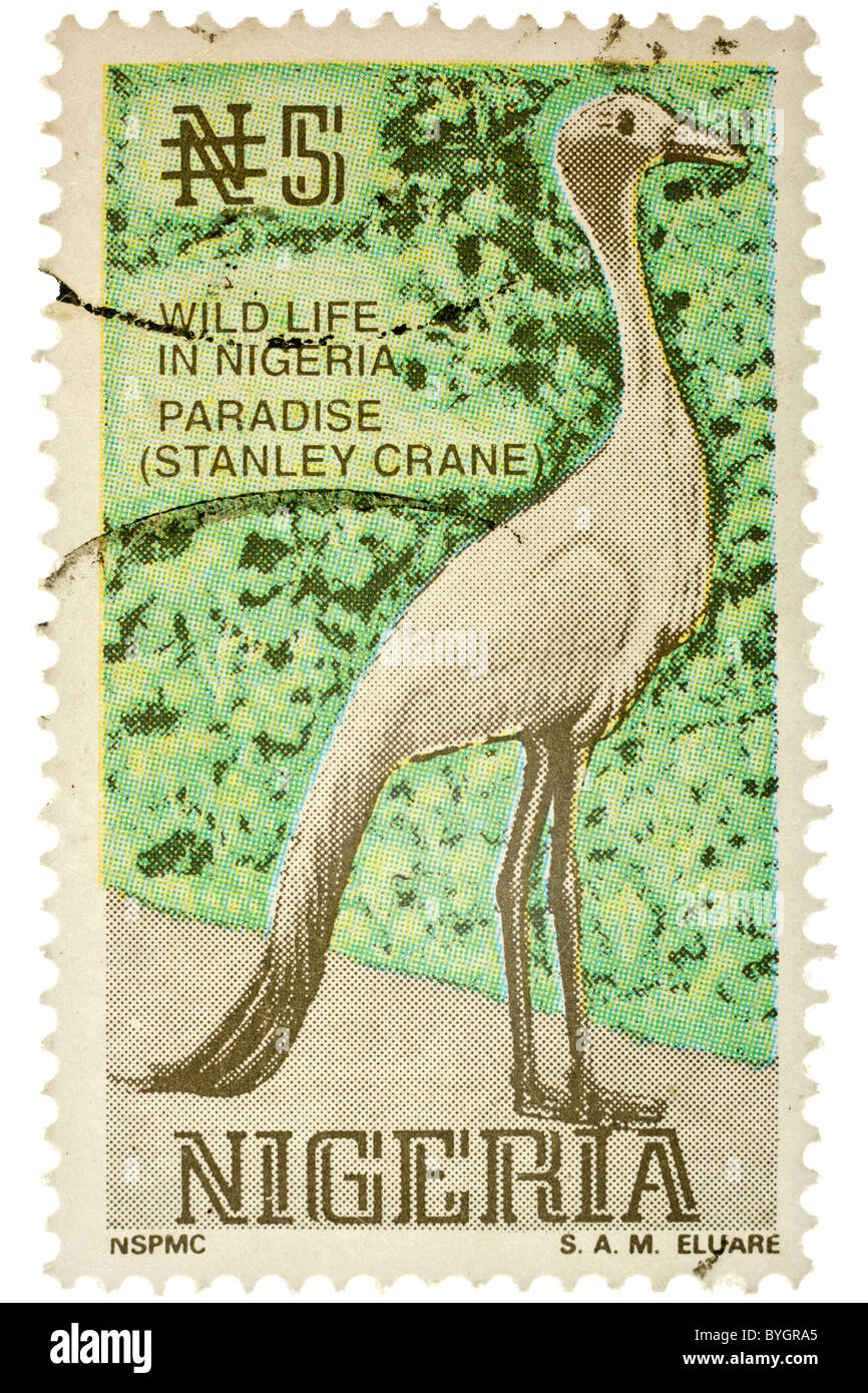 Franked Nigerian stamp 1992 for 5n Wildlife in Nigeria The Stanley Crane. EDITORIAL ONLY - Stock Image