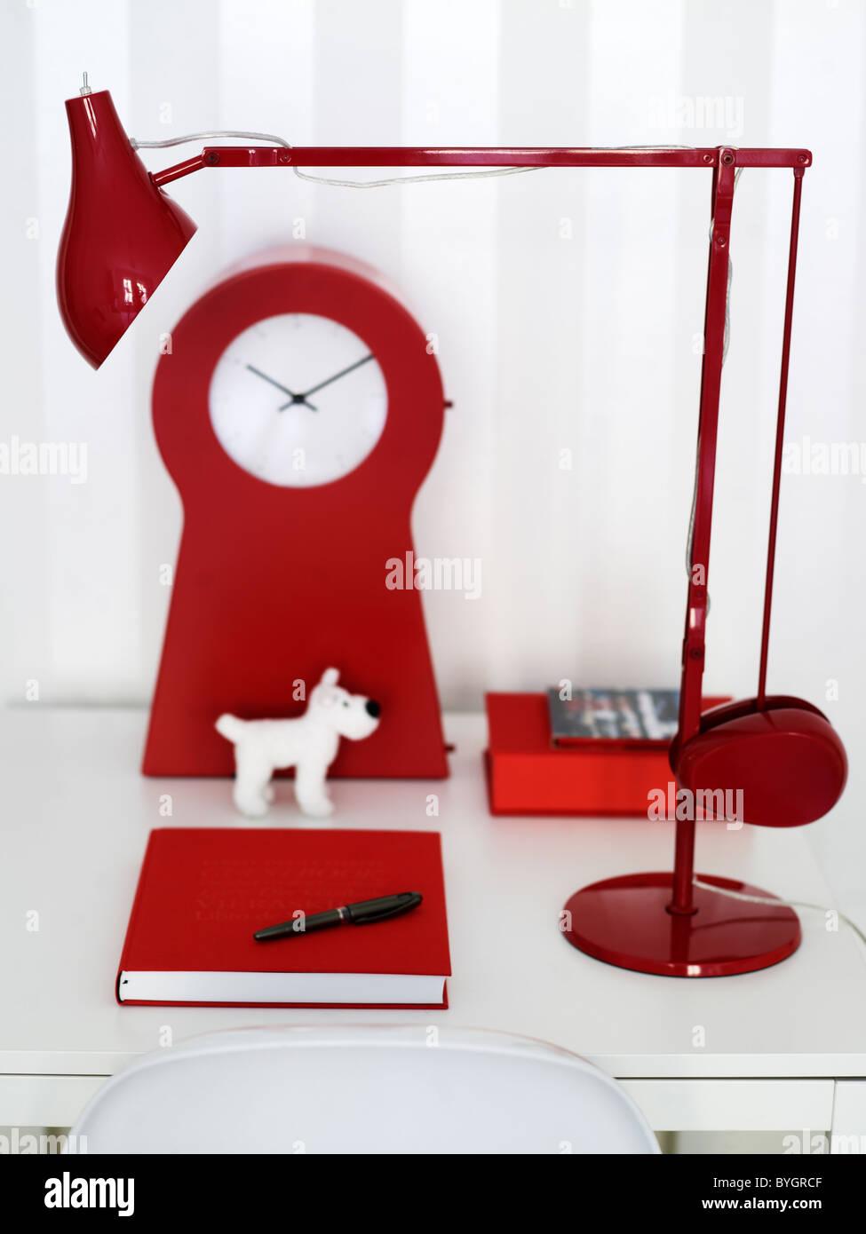 Red-themed modern design home work desk - Stock Image