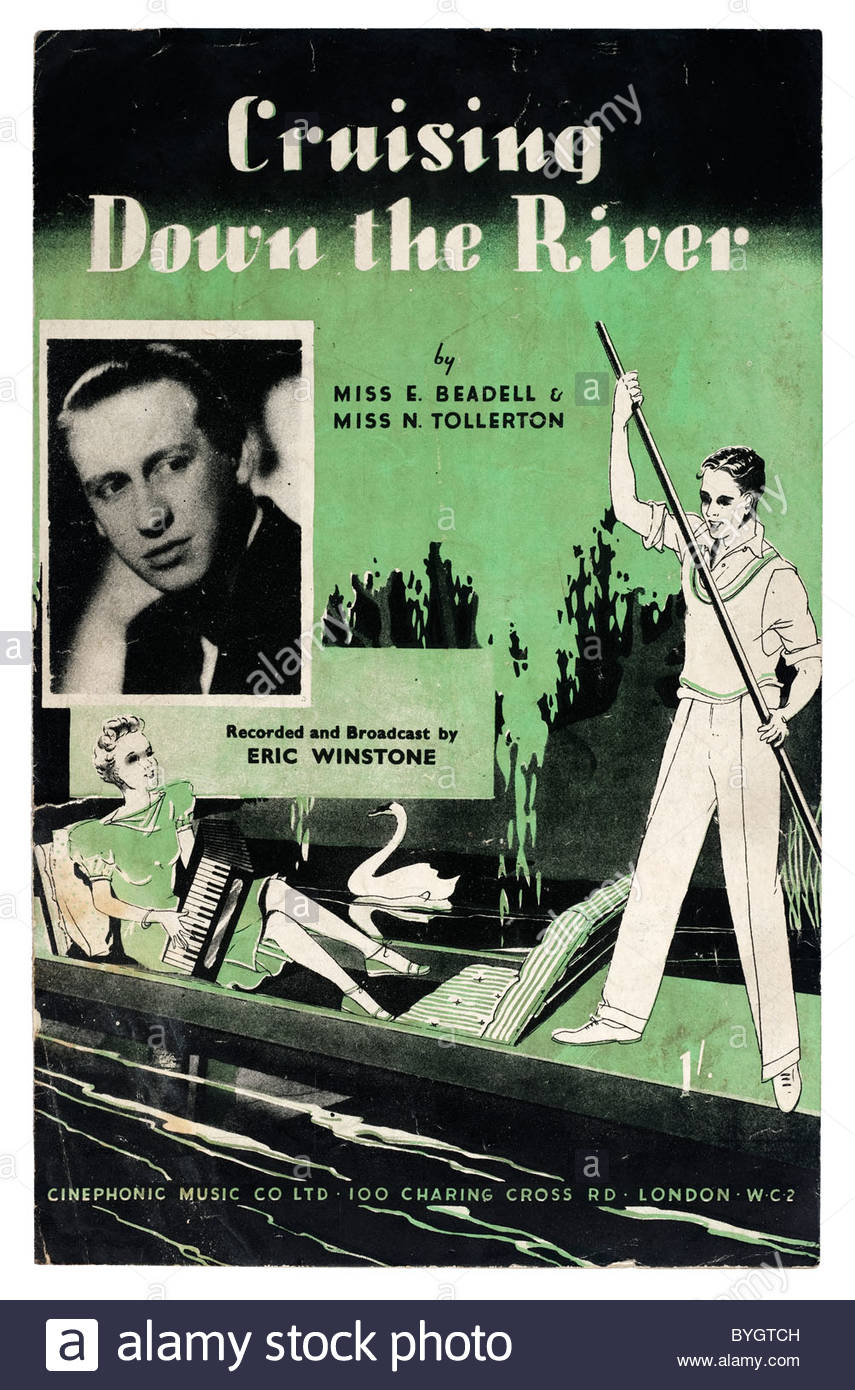 Old sheet music front cover from 1945 titled 'Cruising Down The River'. EDITORIAL ONLY - Stock Image