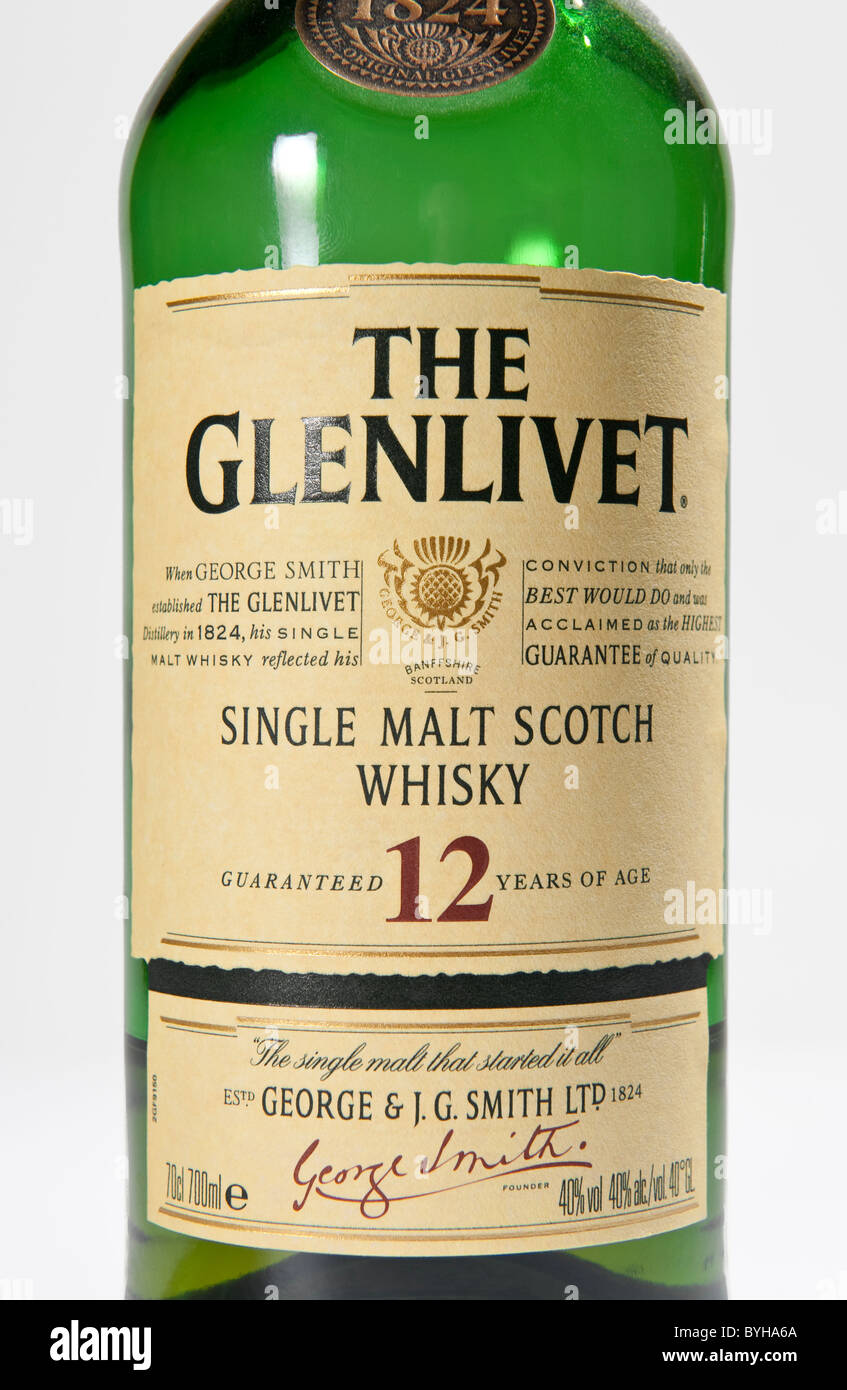 The label on a bottle of The Glenlivet single malt scotch whisky made in Banffshire Scotland - Stock Image