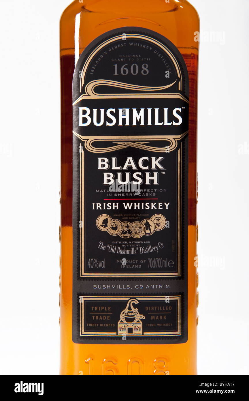 The label on a bottle of Bushmills Black Bush Irish whiskey made in county Antrim Northern Ireland - Stock Image