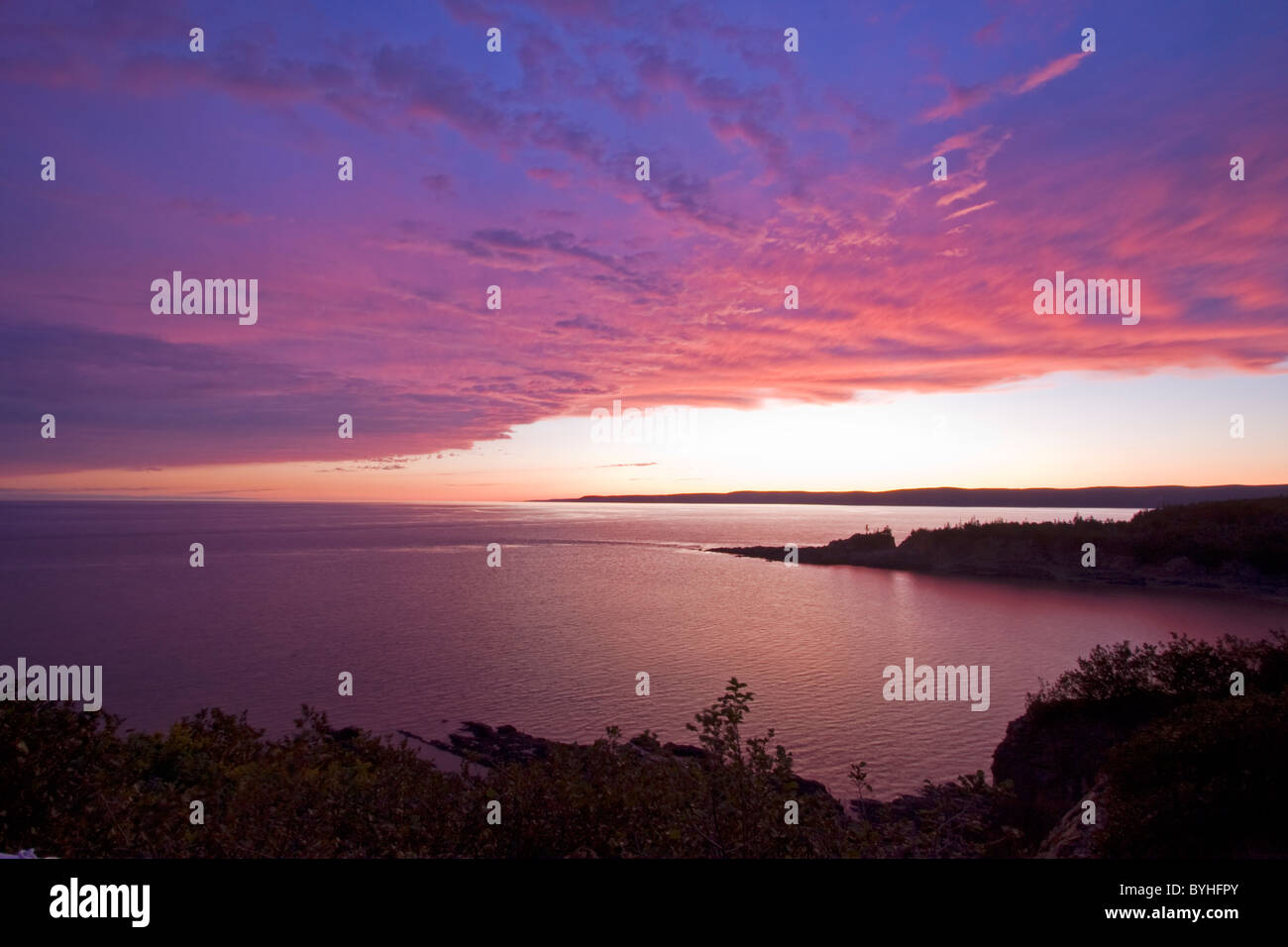 Sundown at The Bay of Fundy, Canada - Stock Image