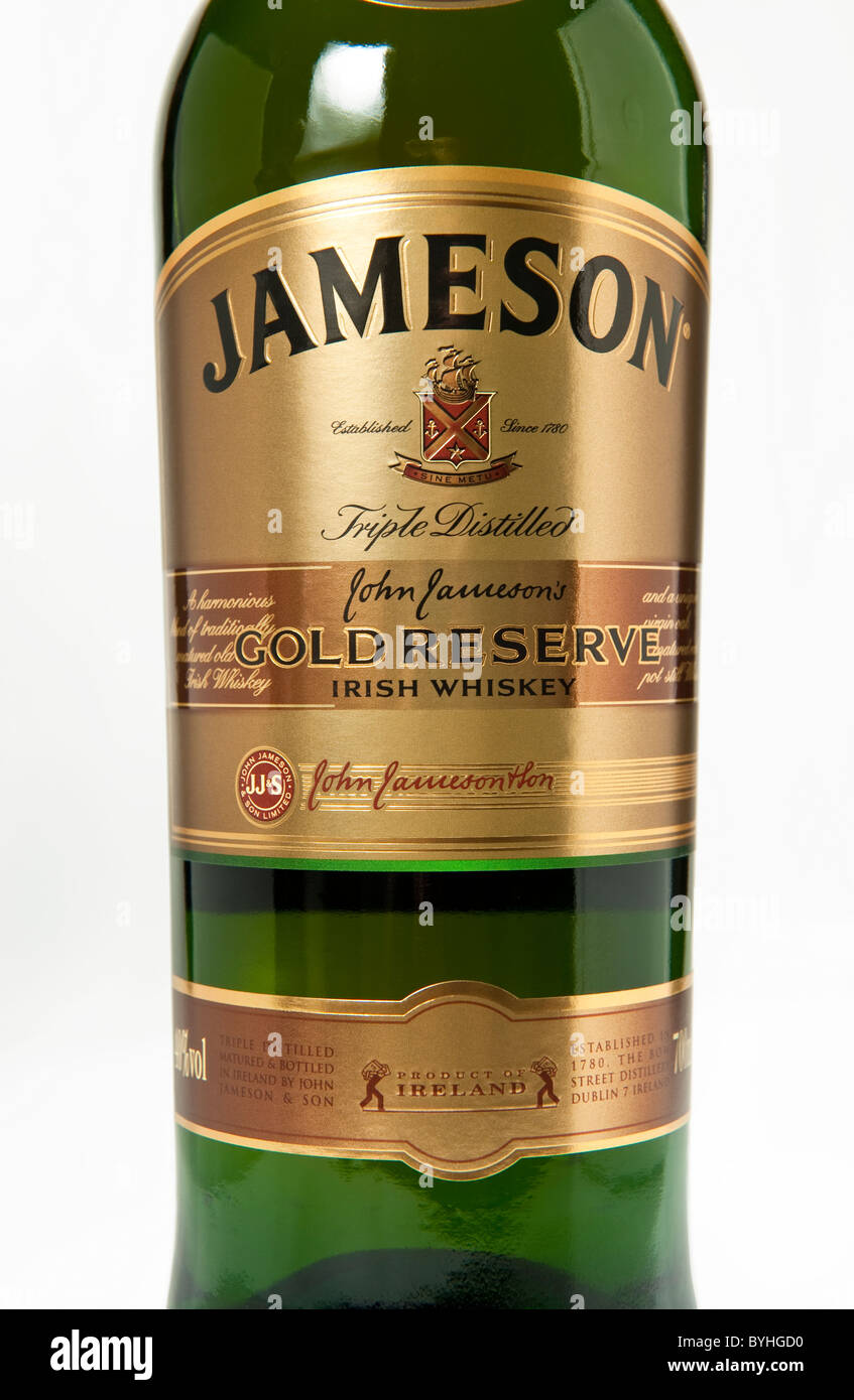 The label on a bottle of Jameson Gold Reserve Irish whiskey - Stock Image